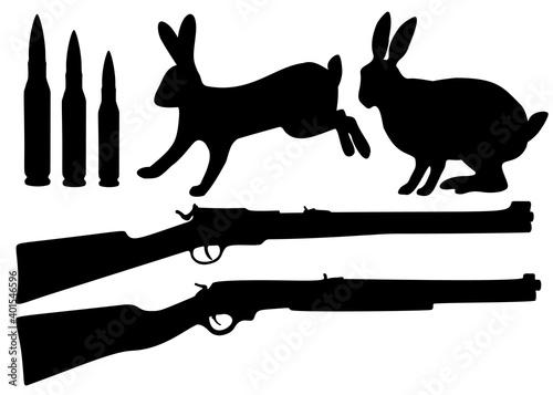 Obraz na plátně Set for hunting a hare. Shotgun, cartridges and a hare in a set.