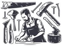 Set Of Carpentry Chisel Tools, Wood Jointer, Saw And Hammer. Diy Workshop Kit For Carpenter Or Timber