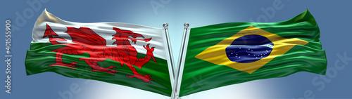 Fotografia Double Flag Brazil vs Wales flag waving flag with texture background
