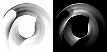 Black And White Monochrome Wavy Rounded Rotation Elements Are Located On A Black And White Backgrounds. Graphic Design Elements Set. 3d Rendering. 3d Illustration. Logo, Icon, Sign, Symbol.