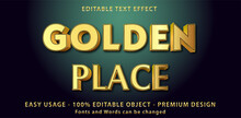 3d Gold Metallic Style Editable Font Effect. Fonts And Words Can Be Changed. Vector.