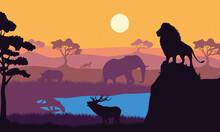 Wild Animals Fauna Silhouettes Scene