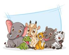 Cute Six Animals Babies Cartoon Characters