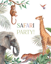 Safari Party Frame. Illustration With Elephant, Monkey, Leopard And Giraffe. Watercolor Animal And Jungle Flora On White Background.
