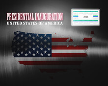 Presidential Inauguration, United States Of America, Calendar - January 20th, 2021, Map And Flag USA, Illustration