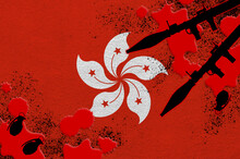 Hong Kong Flag And Rocket Launchers With Grenades In Blood. Concept For Terror Attack And Military Operations