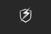 Power Shield Logo, 3D Shield  And Thunder Bolt Icon Combination Isolated On Black Background, 3d Style Logo Design Template Element, Vector Illustration