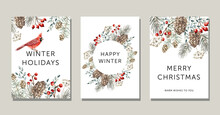 Christmas Nature Design Greeting Cards Template, Round Frame, Text, White Background. Green Pine, Fir Twigs, Cedar Cones, Red Berries, Cardinal Bird. Vector Xmas Illustration. Winter Forest