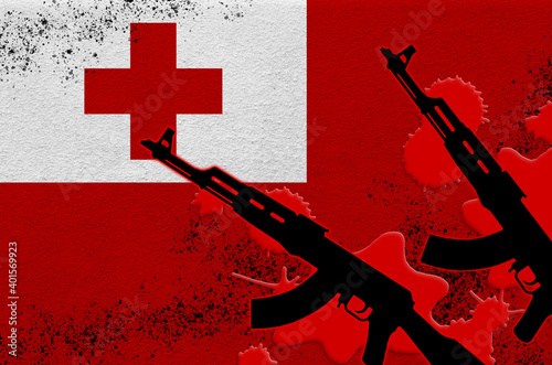 Canvas Print Tonga flag and two black AK-47 rifles in red blood