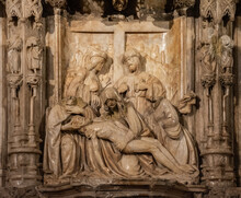 Altarpiece With The Sculptural Group Of The Piety, Cathedral Of Huesca, Aragon, Spain, Europe