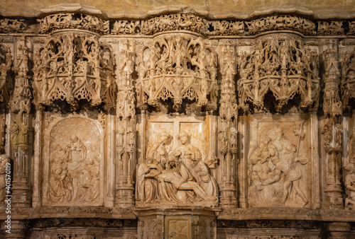 Papel de parede Altarpiece with the sculptural group of The Piety, Cathedral of Huesca, Aragon,