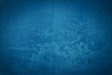 Vintage Grunge Blue Concrete Texture Studio Wall Background With Vignette.