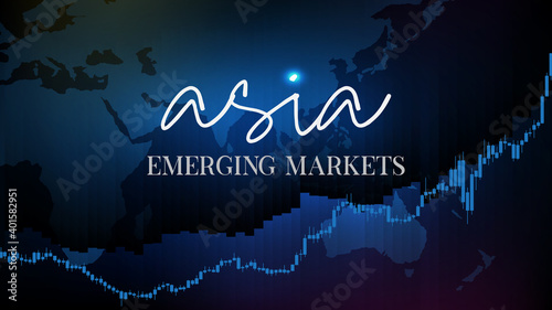 Valokuvatapetti abstract background of stock market asia emerging markets fund flow with candle