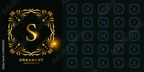 Letter S or collection initial alphabet with luxury ornament floral frame golden logo template. - fototapety na wymiar