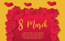 Background Flowers Women Day Illlustration , Celebration Spring 8 March Red And Yeellow Isolated Banner Template Decoration