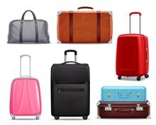 Modern Retro Travel Luggage Realistic Set