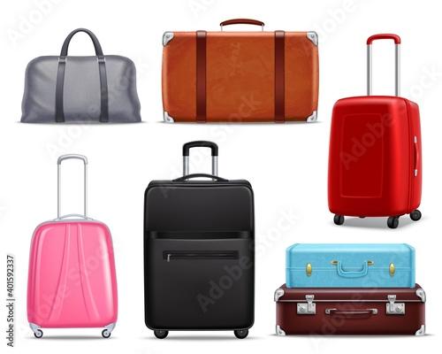 Fototapeta Modern Retro Travel Luggage Realistic Set obraz