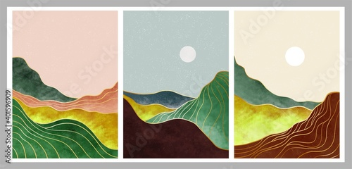 Fototapeta set of creative minimalist hand painted illustrations of Mid century modern. Natural abstract landscape background. mountain, forest, sea, sky, sun and river obraz