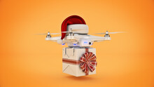 Drones With Santa's Hat Delivering Christmas Gifts. 3d Rendering