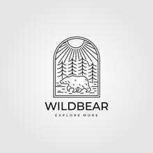 Wild Bear Vintage Adventure Logo Line Art Vector Symbol Illustration Design