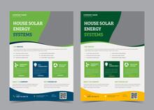 House Solar Energy System Flyer, Green Energy Flyer Templates, Vector.