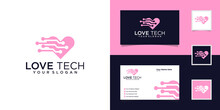 Tech Love Logo Design Template And Business Card