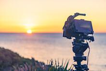 Camera Take Photo From Sunrise Over Sea.