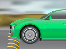 Vector Illustration Of Car With Low Ground Clearance Being Scrapped By Speed Breaker