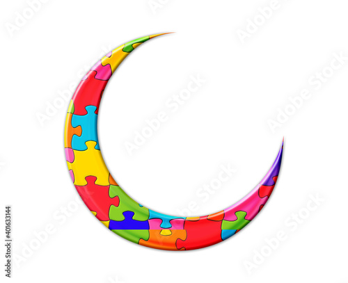 Canvas Print crescent moon Jigsaw Autism puzzle illustration