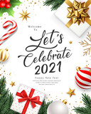 2021 Let's celebrate Happy new year, gift box gold bow ribbon, pine leaves, candy cane, holly, greeting card on white background, Eps 10 vector illustration