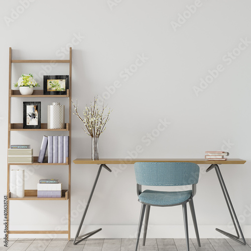 Tela interior of a room with study desk, blue chair and wooden shelf, 3d render