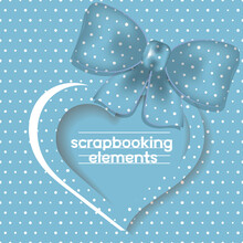 Heart Shaped Frame With Place For Text And Decorative Bow,polka Dot Shapes Pattern.Design For Scrapbooks,baby Albums And Other Users.