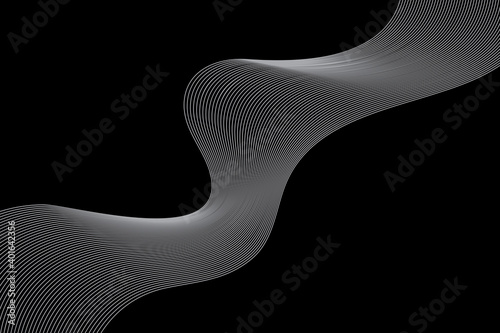 Obraz Abstract background made with repeated lines in wave abstraction. Simple, modern, creative geometric vector art in grey and black colors. - fototapety do salonu