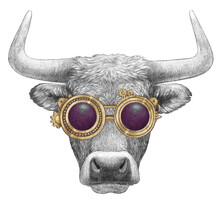 Portrait Of Bull With Goggles. Hand-drawn Illustration.