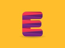 E Letter Logo With Colorful Diagonal Lines. For Brand Label, Colorful Anniversary Celebration, Creative Poster And Icon, Multimedia Ads And More