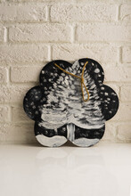 Home Decor. Decorative Graphite Board With Painted Christmas Tree Against A White Brick Wall