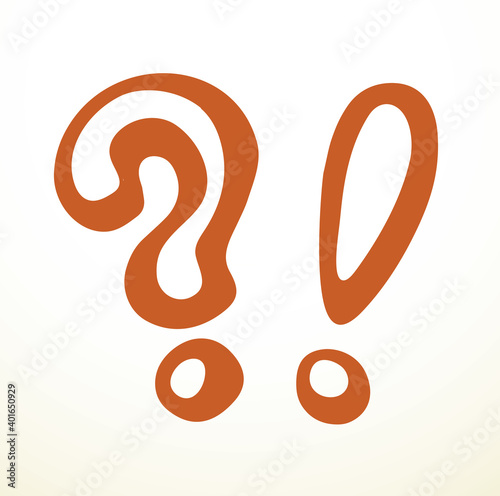 Obraz Exclamation and Question mark. Vector drawing icon - fototapety do salonu