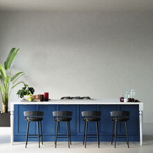 Interior Of A Kitchen With Blue Kitchen Cabinet And Other Decors In Front Of The White Wall, 3d Render