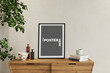 canvas print picture - vertical frame on the wooden dresser, 3d render