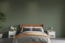 Bedroom With Bed In Front Of The Green Wall, 3d Render