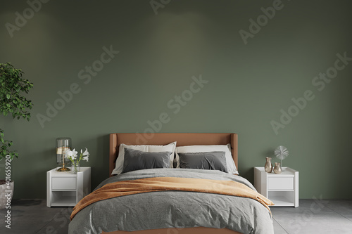 Vászonkép bedroom with bed in front of the green wall, 3d render