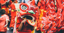 Lion Dance During Chinese New Year Celebration. Group Of People Perform A Traditional Lion Dance.
