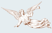 Flying Angel With Trumpet. Biblical Illustrations In Old Engraving Style. Decor For Religious Holidays. Hand Drawn Vector Illustration.