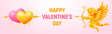 Valentines Day Festive Banner. Couple Of Golden And Pink Hearts Pierced By Arrow And Figurine Of Shooting Cupid. Sparkles And Place For Text On Gentle Light Pink Background. Vector Illustration