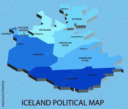 Iceland political isometric map divide by state colorful outline simplicity style. Vector illustration.