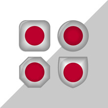 Japan Flag Icons Theme. Isolated On A White Background. Can Be Used For Websites And Additional Designs. Vector