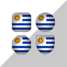 Uruguay Flag Icons Theme. Isolated On A White Background. Can Be Used For Websites And Additional Designs. Vector