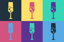 Pop Art Glass Of Champagne Icon Isolated On Color Background. Merry Christmas And Happy New Year. Vector.