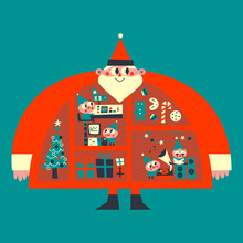 Santa & His Elves Christmas Retro Illustration