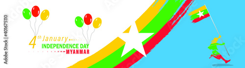Fotografia Vector Illustration Happy Myanmar National Day Celebration vector template, Background Concept for Independence Day and other events
